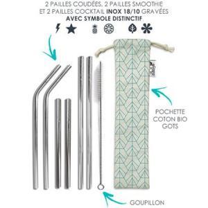 Set 6 pailles en inox + accessoires