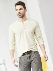 T-shirt slim fit manches longues en chanvre et coton bio