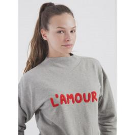 L'Amour Embroidery Neckshirt Grey Melange