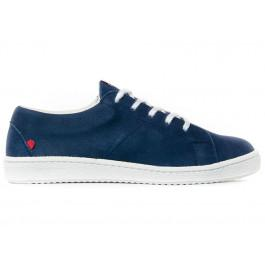 Sneakers basses 911 bleu en cuir mat Made in France -