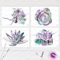 Lot de 4 cartes de voeux florales, création artistique