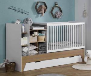 Lit bébé combiné évolutif avec tiroir - Moon Blanc et bois 60x120 cm