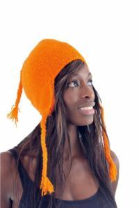 Bonnet orange pure laine et polaire douce du Nepal