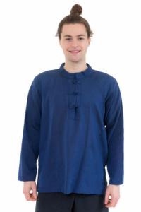 Chemise col mao homme bleu nuit Pio