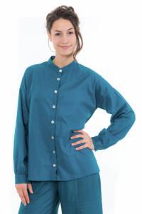 Chemise manches longues femme bleu petrole