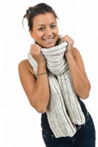 Echarpe pure laine douce gris chine clair