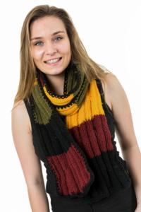 Echarpe pure laine douce jaune  bordeaux noir vert