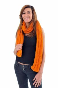 Echarpe pure laine douce orange