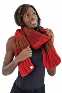 Echarpe pure laine douce rouge marron