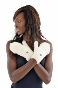 Gants mitaines moufles creme ou gris pure laine et polaire douce