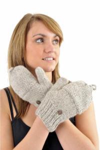 Gants mitaines moufles gris chine clair pure laine et polaire douce