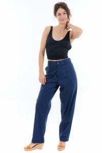 Pantalon carotte basic chic dark blue