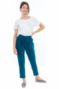 Pantalon carotte bleu petrole Nebalah