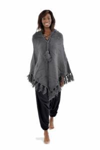Poncho pure laine douce du Nepal gris fonce