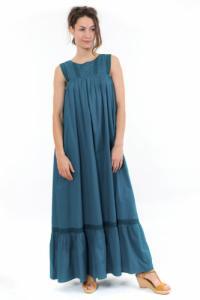 Robe longue romantique dentelle bleue