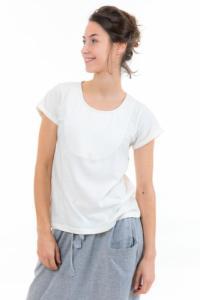 T-shirt femme plastron manches retroussees ecru