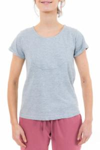 Tee shirt femme gris plastron manches retroussees