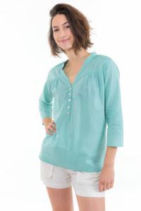 Top blouse coton et nacre Aqua