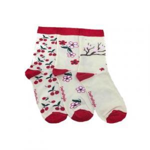 Chaussettes féminines blanches Cerises rouges
