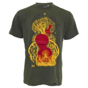 Tee shirt chanvre et coton bio kaki Tree of life