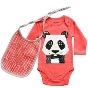 Body et bavoir rose avec un imprimé Panda recto-verso