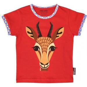 Tee shirt rouge en coton bio et équitable imprimé Gazelle