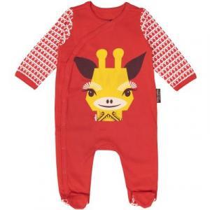 Pyjama en coton bio rouge girafe