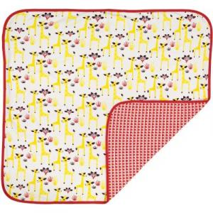 Couverture coton bio rouge girafe