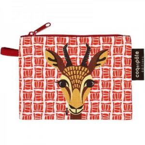 Porte monnaie rouge gazelle en coton bio