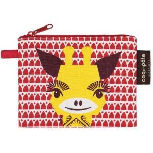 Porte monnaie girafe rouge en coton bio
