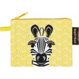 Porte monnaie en coton bio zèbre sur imprimé jaune