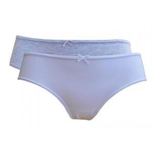 Lot de 2 boxers shorty femme coton bio, gris et blanc