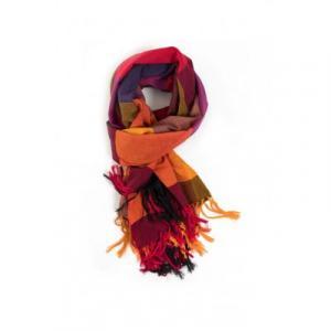 Cheche foulard style madras, coloré rouge, orangé et violet