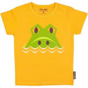 T-shirt coton bio orange crocodile