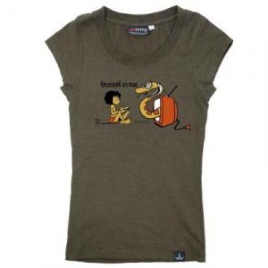 Tee shirt femme coton bio Kaki Trust TV