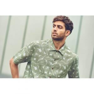 Chemise homme chanvre coton bio manches courtes imprimée feuilles de palmier
