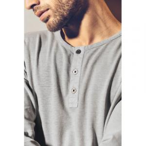 t-shirt manches longues col tunisien en fibres de chanvre et coton bio