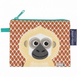 Porte monnaie gibbon en coton bio