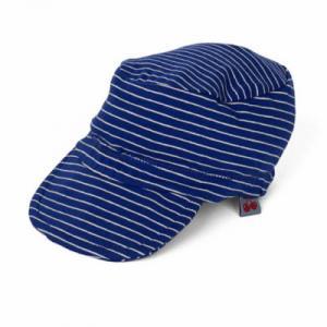 casquette bleue à rayures blanches en coton bio