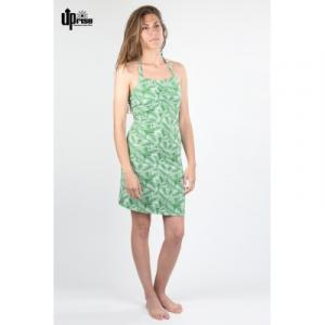 Robe été imprimée feuilles en chanvre et coton bio