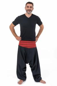 Pantalon sarouel bali noir rayures rouges