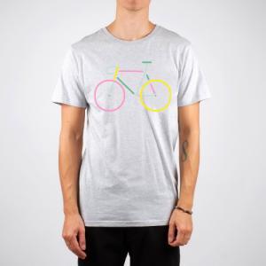 T-shirt gris vélo multicolore en coton bio - Dedicated