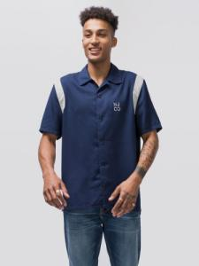 Chemise manches courtes bleu marine en tencel - jack bowling