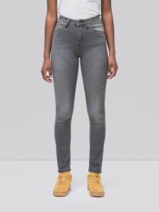 Jean skinny taille haute gris délavé en coton bio - hightop tilde