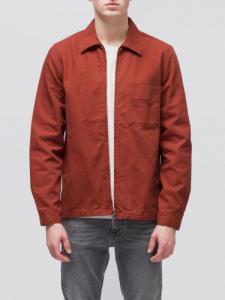 Veste zipée rouge en coton bio - sten zip