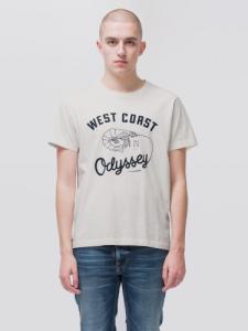 T-shirt imprimé blanc en coton bio - roy - Nudie Jeans