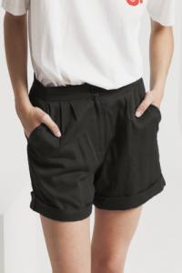 Short uni noir en coton bio - mamma