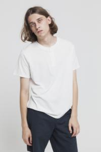 T-shirt avec col boutons blanc en coton bio - brad - Thinking Mu