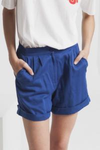 Short uni bleu en coton bio - mamma
