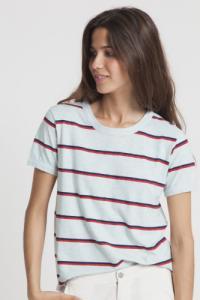 T-shirt rayé bleu clair en chanvre et coton bio - retro